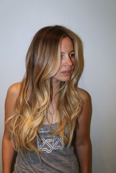 Box No. 216, more hair color ideas. Summer brown blonde. Love the stronger highlights in the front and the ombré/balayage look towards the b...