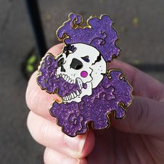 Glitter Skull Large Hard Enamel Pin by AshleaBechaz on Etsy