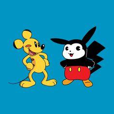 Awesome 'Mickachu' design on TeePublic! Disney Day, Pikachu, Pokemon, Memes, Mickey Mouse, Prints, Fictional Characters, Design, Cinema
