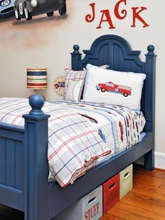 Designer's note: A hand painted blue cottage-style bed paired with a classic plaid duvet on top of a quilt featuring a subtle car theme makes for a great boy's room.(Cottage Kids-rooms from Susie Fougerousse on HGTV)