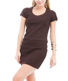 Take a look at this Brown Wave Knit Sweater Dress by Buy in America on #zulily today!