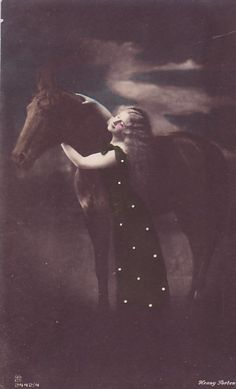 Lady with horse postcard