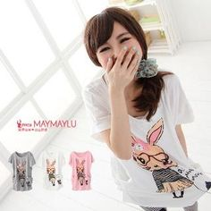 YesStyle : 'Rabbit' Print Long Top $32.00 - Very cute! Moderate one-size + more colors! ^^