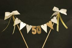 Golden Wedding Anniversary cake topper, cake bunting, cake banner, cake flags, white and gold fabric hearts with gold numbers Golden Wedding Anniversary cake topper cake by SoLuvli<br> Golden Anniversary Cake, 50th Anniversary Cakes, Anniversary Parties, Anniversary Ideas, Anniversary Surprise, 50th Wedding Anniversary Decorations, Creations, Cake Bunting, Cake Banner