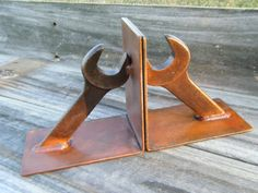 Wrench Bookends Indsutrial Style Decor man cave by ironoflife