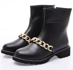 Find More Boots Information about Golden Chain Faux Leather Women Martin Motorcycle Riding Boots Punk Style Chunky Heel Ladies Ankle Boots Shoes XWX1614,High Quality Boots from Chic Shoes Mall on Aliexpress.com