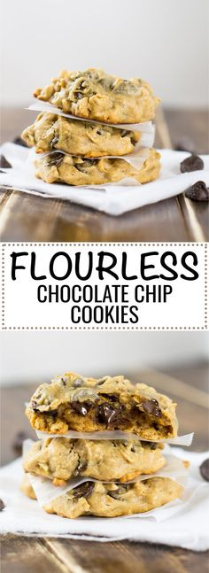Flourless peanut butter oatmeal chocolate chip cookies made without any flour or dairy. A naturally sweetened gluten free healthy cookie!