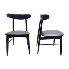 This is a pair of wonderful mid century side chairs that are painted black with new black vinyl fabric seats. The chairs are solid wood construction and were made by Morris Furniture of Los Angeles (prominent furniture maker in the 1950's–80's).