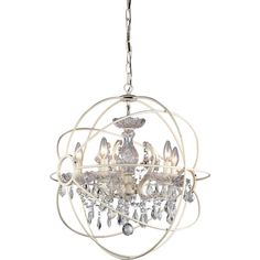 Create the perfect modern look with this eight-light chandelier. The fixture combines a sleek, futuristic look with traditional touches, resulting in a dazzling display for your entryway, dining hall or living room. The cascading crystals reflect the soft glow of the four 25-watt bulbs to brilliant effect. A chain allows you to adjust the height of the chandelier, which is ideally sized for medium rooms. Sturdy metal construction protects the rows of solid crystal accents, and the fixture is…