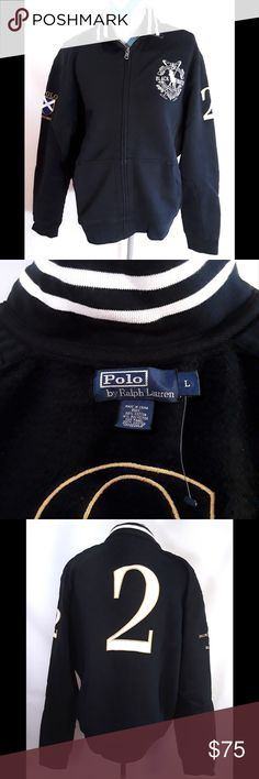 """Ralph Lauren POLO Blackwatch Zip Sweatshirt Crest Fantastic, heavy-weight vintage BLACKWATCH zip sweatshirt by Ralph Lauren Polo for sale. Super details, including awesome embroidery and padded, quilted shoulder/sleeves. Blackwatch crest embroidered on chest, """"Polo Blackwatch"""" surrounding flag on right sleeve, #2 on left sleeve and back.  Grommets for air under sleeve.  Sweatshirt in very good overall condition. Ralph Lauren the Official Sponsor and Outfitter of the Blackwatch Competition…"""