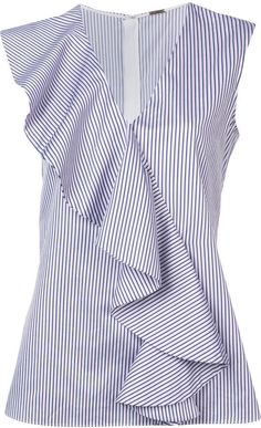 ADAM by Adam Lippes striped ruffle blouse Blouse Patterns, Blouse Designs, Ruffle Top, Ruffle Blouse, Trend Fashion, Fashion Design, Shirt Blouses, Shirts, Blouse Styles