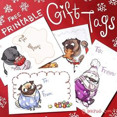 Instagram Printable Tags, Printables, Pug Breed, Holiday Gift Tags, Photo Center, Pug Love, Pugs, Coloring Pages, Cute Animals