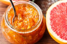 """There aren't many grapefruit jam recipes, but here's one! This recipe, from the book """"Food in Jars"""" is in celebration of National Grapefruit Month. Recipe Using Grapefruit, Grapefruit Recipes Healthy, Grapefruit Marmalade, Marmalade Recipe, Citrus Recipes, Orange Recipes, Jam Recipes, Canning Recipes, Greek Recipes"""