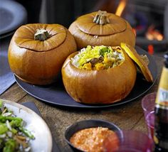 Pumpkin biryani Serving this spiced Indian rice inside a pumpkin makes for a dramatic centrepiece when entertaining Bbc Good Food Recipes, Cooking Recipes, Healthy Recipes, Delicious Recipes, Cooking Tips, Small Food Processor, Food Processor Recipes, Pumpkin Recipes, Fall Recipes