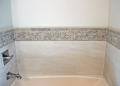 Light Grey Tile Tub Surround with Grey Tones Pattern Accent Wall Tile Tub Surround, Grey Tiles, Porcelain, Bathtub, Wall, Pattern, Home, Bathtub Tile, Standing Bath