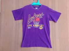 Vintage 1990 NBA Lakers Los Angeles Lakers USA Salem Sportswear T Shirt by ArenaVintage