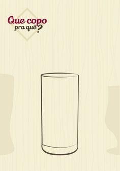 Copo long drink: bem parecido com o copo de suco, o long drink é um pouco mais fino e alto e costuma ser usado para servir coquetéis que são completados com sucos, refrigerantes ou outras bebidas, para serem degustados aos poucos. Sua forma alongada comporta pedras de gelo e aproximadamente 250 ml de líquido