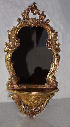 Vintage Burwood, Syroco Lots of Gold, Hollywood Regency Flair, Mirror with Display Shelf, Mid Century,