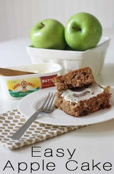 A delicious recipe for Easy Apple Cake - the perfect dessert for fall! Works great for potlucks because it's a frost free cake! Filled with all the flavors of fall