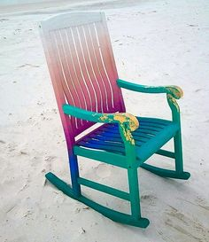 This is AMAZING! and possible for you guys! Colorful ombre rocking chair for a beachy life