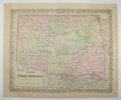 1881 Colton Indian Territory Map, Oklahoma Map, Original Antique Map, Oklahoma History Buff Gift, Native American Indian Nations available from OldMapsandPrints.Etsy.com #IndianTerritory #Oklahoma #NativeAmericanIndianHistory
