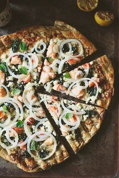 Use a healthy crust recipe and make this..OMG..yum!Grilled Pizza with Spinach, Feta and Lobster: