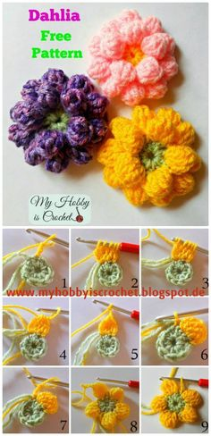 DIY Crochet Dahlia Flower - Free Pattern With Step by Step, Easy crochet flowers for beginners with free patterns!