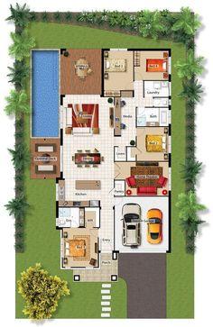 Casa con piscina, 4 cuartos, oficina y teatro en casa. House Layout Plans, Dream House Plans, Small House Plans, House Layouts, House Floor Plans, The Plan, How To Plan, Barrington Homes, Florida House Plans