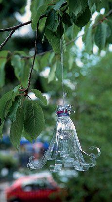 Plastic bottle sun catcher  cut bottom off, cut strips and roll them ... hang.