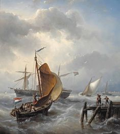 Ships near the Harbour Entrance by Nicolaas Riegen Dutch Artists, Sailing Ships, Entrance, Water, Landscape, Drawings, Strand, Boats, Oil