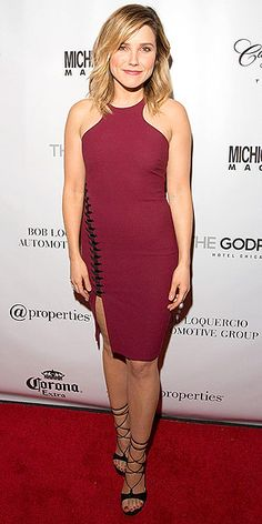 Last Night's Look: Love It or Leave It? | SOPHIA BUSH | in a body-con Elizabeth and James maroon halter with a lace-up panel and strappy heels at Michigan Avenue Magazine's cover celebration in Chicago.