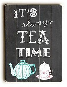 Rustic Barnwood Tea Time Wood Sign for your kitchen decor