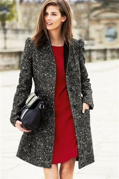 Black And White Tweed Effect Coat Jackets Uk bf2f3d8ca