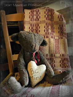 Primitive Valentine Bear with Be Mine Pillow https://www.facebook.com/pages/Starr-Mountain-Primitives/228548684018