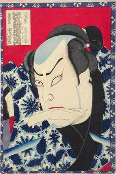 Toyohara Kunichika (1835-1900): Actor Ichikawa Sadanji I as Wada no Shimobe Busuke, woodblock print, 1873.