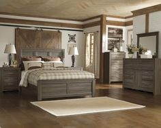 - Description - Dimensions - More Info Ashley Furniture Juraro Panel Bedroom Group includes Bed, Dresser, Mirror, Chest and two Nightstands The beauty of Vintage Casual design come to life with the ag