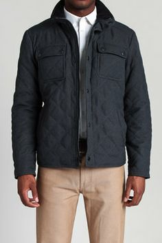 Faux Wool Diamond Quilted Jacket
