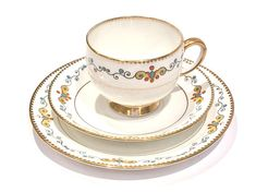 "Description: Royal Albert China British made in England Tea cup Saucer and Matching side tea bread/butter plate Vintage tableware tea set items The base colour is white Full backstamp The pattern is Avenue"" Art Deco Condition is very good Standard Tea cup size Classic"