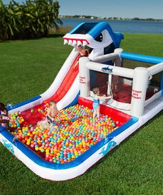 Pinterest: CreativeTayy .  Blast Zone Shark Park 10-in-1 Inflatable Bouncer & Water Slide | zulily