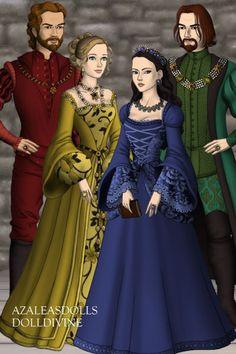 Godric Gryffindor, Helga Hufflepuff, Rowena Ravenclaw, Salazar Slytherin ~ by GypsyMoth ~ created using the Tudors doll maker   DollDivine.com