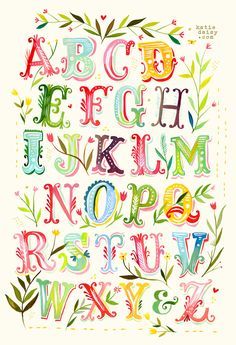 Alphabet Poster Print Watercolor Typography by thewheatfield Letras Cool, Watercolor Typography, Daisy Art, Acrylic Artwork, Lettering Styles, Calligraphy Letters, Vintage Diy, Letter Art, Letters And Numbers