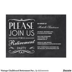 Elegant black white retirement party invitations retirement vintage chalkboard retirement party 5x7 paper invitation card stopboris Image collections