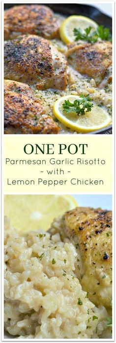 Oven Roasted Lemon Pepper Chicken on a bed of Creamy Garlic. Oven Roasted Lemon Pepper Chicken on a bed of Creamy Garlic Parmesan Risotto - one pot baked in the oven! New Recipes, Cooking Recipes, Favorite Recipes, Healthy Recipes, Recipies, Parmesan Risotto, Garlic Parmesan, Garlic Butter, Lemon Pepper Chicken