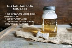 DIY Natural Dog Shampoo | Here's a great recipe for the pets who share in your life, to now share in your natural, cheap, & healthy DIY lifestyle! Recipe right on the picture to make sure you have the ingredients ready to go!