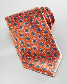 Large Floral-Medallion Silk Tie, Orange by Brioni at Bergdorf Goodman.
