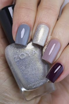 A Zoya nail polish cone mani! I have used (from the pointer to the little finger) August, Ali Stylish Nails, Trendy Nails, August Nails, Zoya Nail Polish, Creative Nails, Winter Nails, Love Nails, Manicure And Pedicure, Diy Nails
