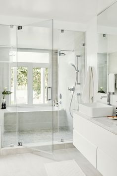 Modern Farmhouse, Rustic Modern, Classic, light and airy master bathroom design suggestions. Bathroom makeover some ideas and master bathroom renovation a few ideas. Wet Room Bathroom, Diy Bathroom Decor, Bathroom Layout, Bathroom Interior Design, Small Bathroom, Bath Room, Bathroom Ideas, Bathroom Hacks, Bathroom Grey
