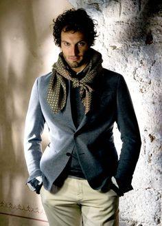 blue blazer + khaki pants + brown scarf