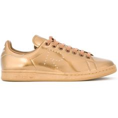 Adidas By Raf Simons Stan Smith Sneakers ($291) ❤ liked on Polyvore featuring shoes, sneakers, metallic, round toe sneakers, laced sneakers, metallic flat shoes, perforated sneakers and lacing sneakers
