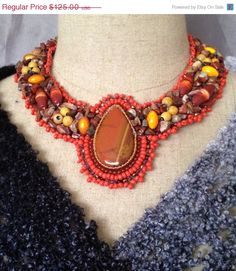 ON SALE Red Jasper Cabachon Beaded Collar by bjswearableart, $75.00